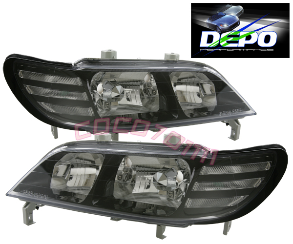 97 99 Acura Cl Jdm Style Black Headlights Depo 98 Pair