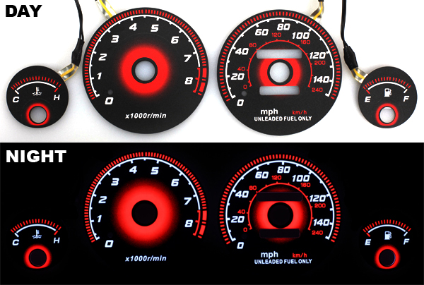 94-01 Acura Integra LS RS GS RADIANT RED Glow Gauge BLACK ...