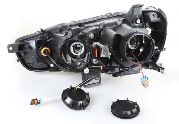 08 15 Mitsubishi Lancer Black Projector Head Light Evolution EVO x Halogen Depo eBay