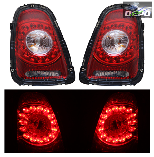 2007 2010 Mini Cooper Hatchback Convertible LED Tail Lights Red Clear Depo