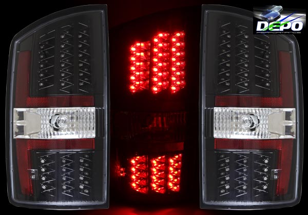 about 2002 2006 dodge ram pickup truck led tail lights black depo new. Black Bedroom Furniture Sets. Home Design Ideas
