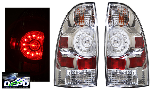2009 2012 toyota tacoma truck led rear tail lights chrome. Black Bedroom Furniture Sets. Home Design Ideas