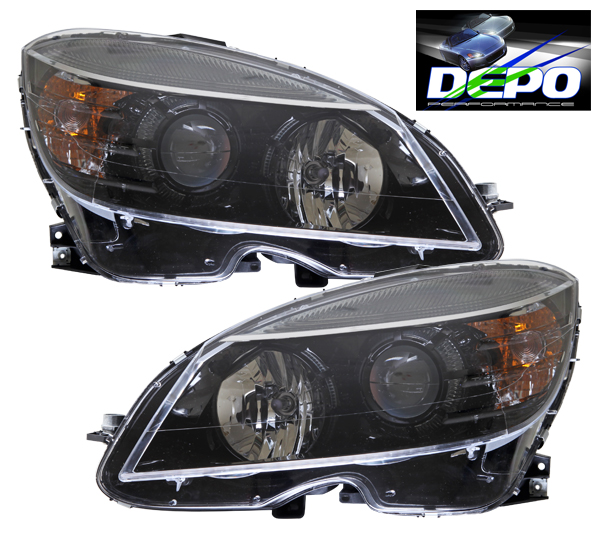08 11 c class w204 c300 c350 black projector head lights for Mercedes benz projector lights